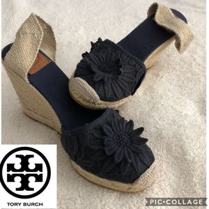 Tory Burch Navy Blue Espadrille Wedges sz 10